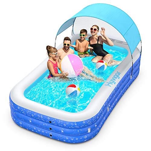 Hyvigor Planschbecken, 305 * 183 * 56cm Schwimmbecken mit Markise für Kinder, Pool Rechteckig mit 2 Bälle, Schwimmbad Aufblasbar Groß mit Aufbewahrungstasche für Baby, Erwachsene, Outdoor, Garten