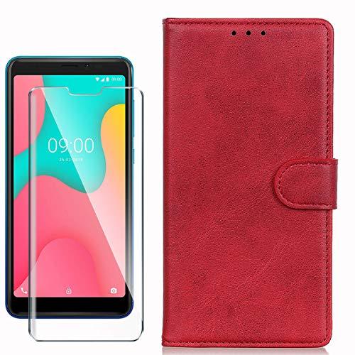 HYMY Hülle für Wiko Y60 + Schutzfolie - Rot Einfach Stil PU Leder Lederhülle Flip mit Brieftasche Geldbörse Card Slot Handyhülle Cover für Wiko Y60 (5.45