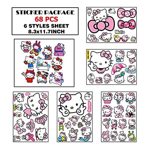 Kawaii - Adesivi per auto con cartoni animati Hello Kitty, adesivi per auto e gatti, resistenti autoadesivi per auto, in PVC, impermeabili, non sbiadiscono, 3d anime valigia adesivi per casco