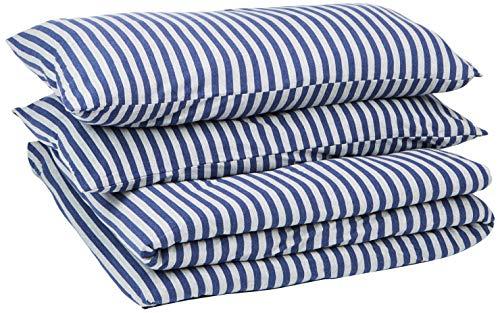 Amazon Basics - Juego de funda nórdica para edredón, diseño de rayas, 220 x 250 cm / 50 x 80 cm, Azul Marino