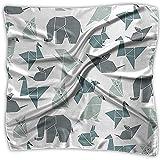 Pañuelo de satén cuadrado Origami Animal Seda como pañuelos ligeros Pañuelo para la cabeza Cuello Chal Pañuelo en la cabeza