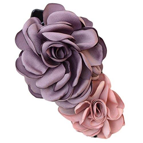 Mixte clip coloré Simulation Fleur Rose Cheveux épingle Fleur Coiffe(pourpre)
