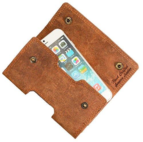 MATADOR Echt Leder Quertasche kompatibel zu iPhone 6/7 / 8/12 Mini Gürteltasche Gürtelclip/Gürtel-Schlaufe Handytasche (Braun)