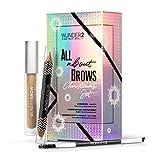 WUNDER2 All About Brows - Juego de maquillaje – WUNDERBROW, Define & Highlight lápiz de cejas y cepillo doble (Brunette)
