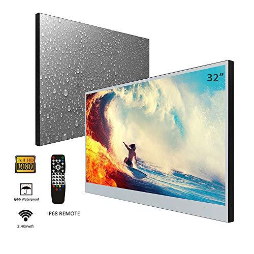 Soulaca 32 Zoll Smart Spiegel TV IP66 wasserdicht TV für Badezimmer, Hotel mit Fernbedienung (DVB-T/DVB-T2/DVB-C/DVB-S)