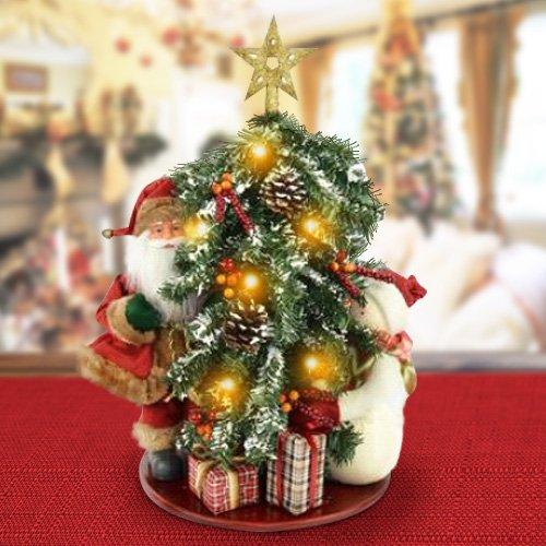 BAKAJI Albero di Natale Innevato Luminoso 6 LED con Babbo Natale E Pupazzo di Neve 50Cm