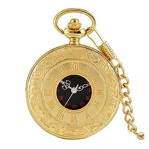 Clásico Números romanos Números Reloj de bolsillo de cuarzo hombres Mujeres Mujeres Black Hollow Caja antigua Collar Colgante Mejores regalos para hombres Mujeres para el cumpleaños del día del padre
