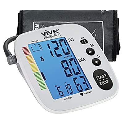 Vive Precision Blood Pressure Monitor - Heart Rate Monitor Sphygmomanometer BP Cuff Machine for Large Arms, Pulse - Digital, Automatic - Accurate Home BPM System for Hypertension - Pregnancy Must Have from Vive Health