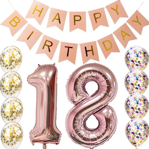 18th Birthday Decorations Party Supplies Balloons Rose Gold18th Banner