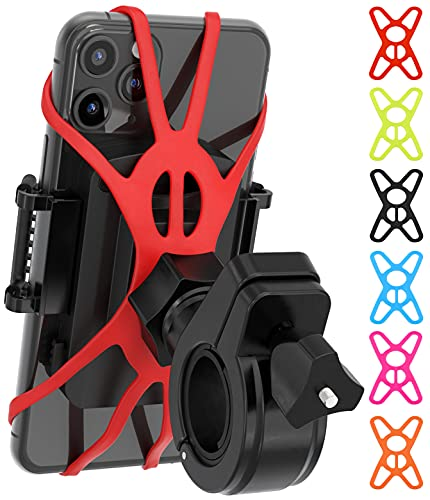 TruActive Premium Bike & Motorcycle Phone Mount, Bike Phone Mount Holder, Cycling GPS Units, 6 Colors Included, Universal Bike Phone Holder, Bicycle Cell Phone Holder for Bike, ATV