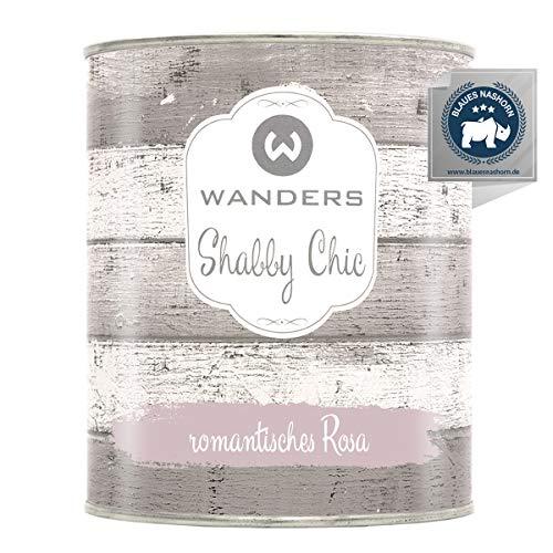 Wanders24® Kreidefarbe (750 ml, romantisches Rosa) Holzfarbe für Shabby Chic Look - Möbelfarbe einfach zu verarbeiten - Möbellack auf Wasserbasis - Made in Germany