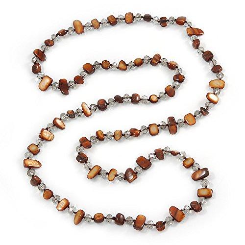 , colore: Marrone e trasparente, con pepita-Collana con perline in vetro trasparente, 110 L