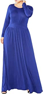 Howely Women Round Neck Fall Winter Empire-Waist Swing Long Sleeve Long Maxi Dress