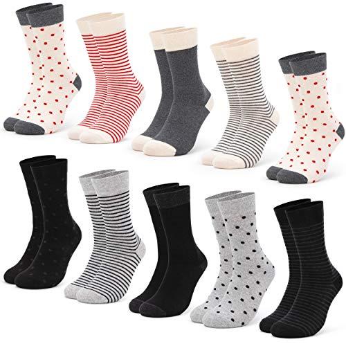 Occulto 10 Paar Damen Socken mehrfarbig mit Streifen, Punkte, Herzen & Weihnachts-Motiven | Süße Baumwoll Damensocken in verschiedenen Mustern für Winter & Sommer (35-38, Schwarz-Rot)