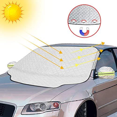 otumixx Frontscheibenabdeckung Auto Scheibenabdeckung Windschutzscheibe Abdeckung Magnet Fixierung Faltbare Abnehmbare Auto Abdeckung für die Windschutzscheibe gegen Schnee, EIS, Frost, Staub, Sonne