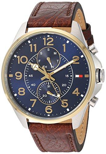 Tommy Hilfiger Herren Multi Zifferblatt Quarz Uhr mit Leder Armband 1791275