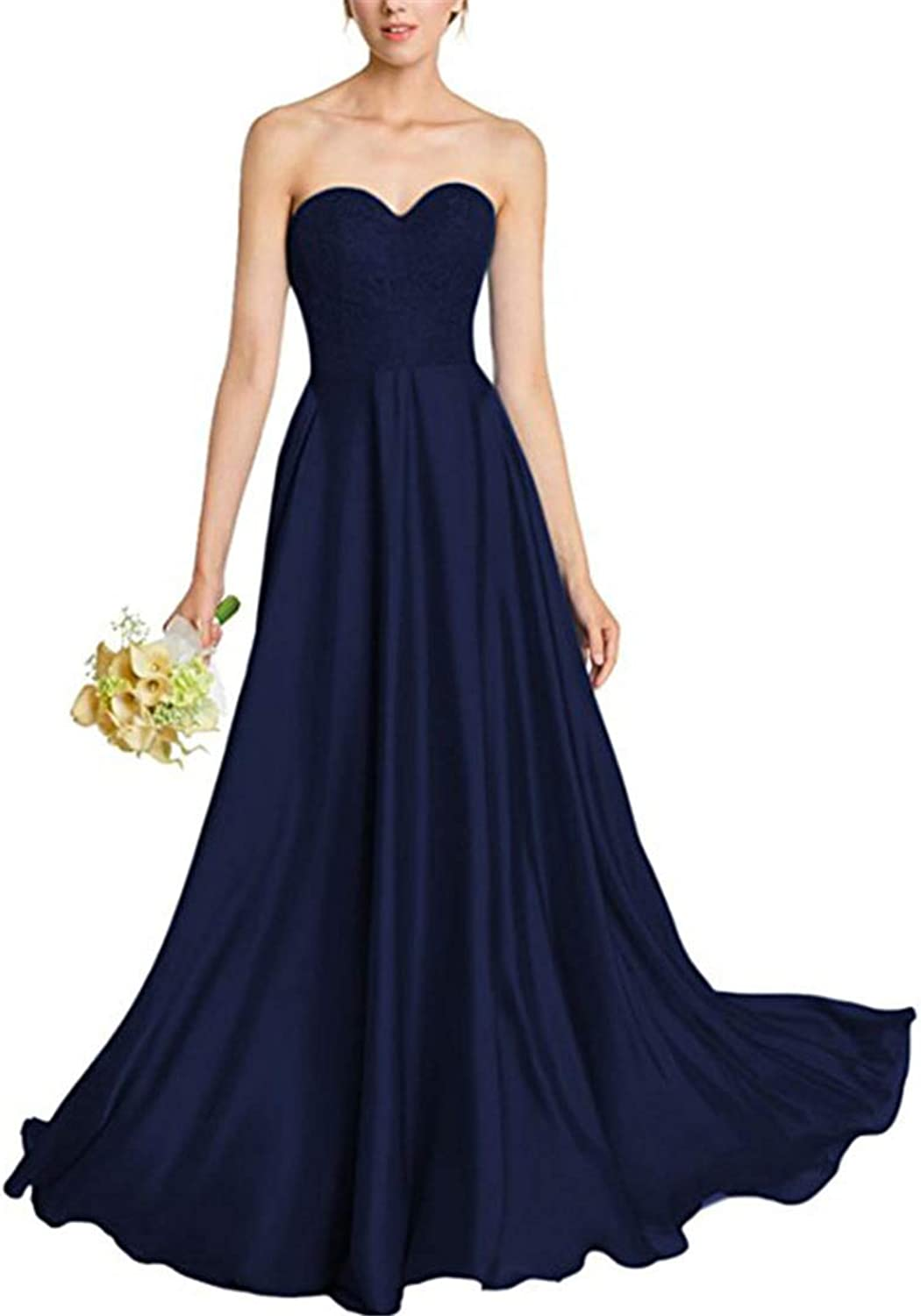 Bridesmaid Dresses with Lace A line Sweetheart Sleeveless Evening Party Gowns Satin Long Prom Dress for Women