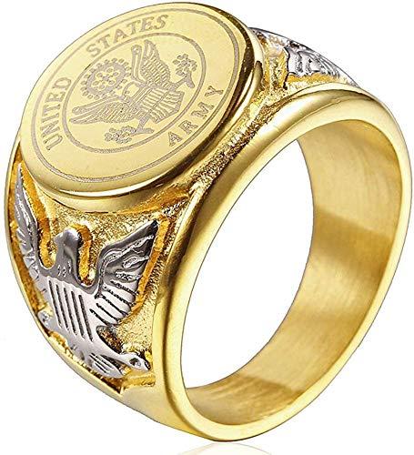 NA Anillos de la Medalla del águila del Anillo del ejército Militar Estadounidense de Acero de Titanio de la Vendimia para Hombres, Plata/Oro/Negro