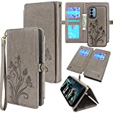 Lacass Compatible with OnePlus Nord N200 5G Case [ 10 Card Slots ] ID Credit Cash Holder Detachable Magnetic Leather Wallet Phone Cover Kickstand Wrist Strap Lanyard (Butterfly Gray)