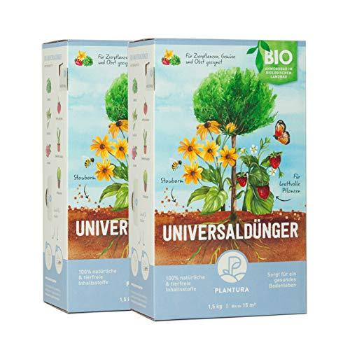 Plantura Bio Universaldünger mit 3 Monaten Langzeitwirkung, Pflanzendünger, 3 kg, für kraftvolle Pflanzen, 100% tierfrei & Bio, gut für den Boden, unbedenklich für Haus- & Gartentiere, Naturdünger