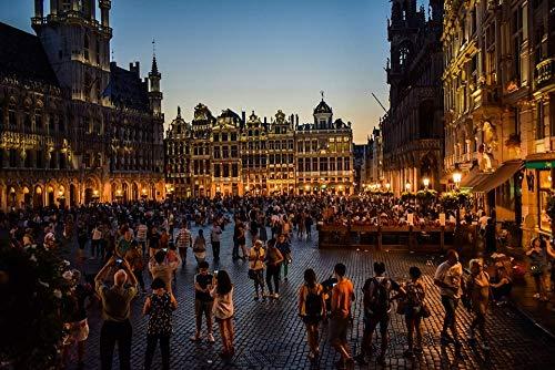 ZYDZYD Bélgica Bruselas nuevos Edificios Cuadrados de la Ciudad,de Dibujo con Pinceles y Pinturas acrílicas Pintura por Kits de números sin Marco 50 * 70cm