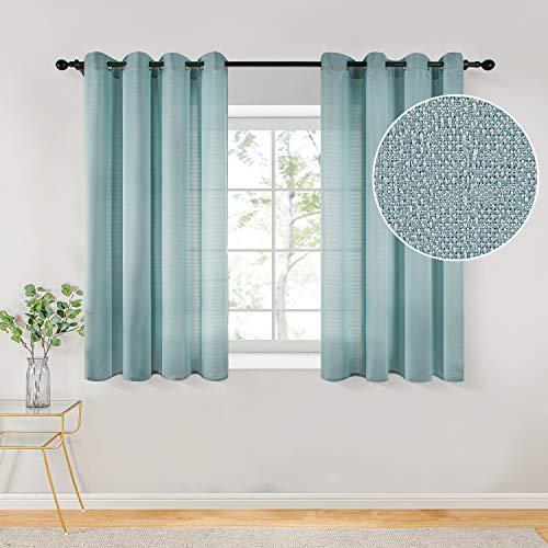 Topfinel Voile Vorhänge mit Ösen Halbtransparent Gardine Leinenstruktur Garn Muster Fensterschal für Zimmer, Büro, 2er Set 145x140 (HxB) Hellblau