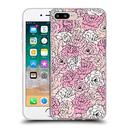 Head Case Designs Oficial Martina Illustration Peonías Rosadas Patrones Carcasa de Gel de Silicona Compatible con Apple iPhone 7 Plus/iPhone 8 Plus