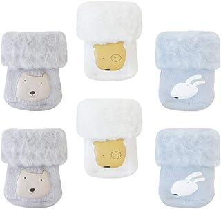 TOYANDONA 3 Pairs Newborn Infant Toddler Winter Thick Warm Socks Christmas Socks Soft Stockings(S)