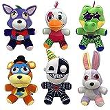PQWI 6Pcs 18Cm FNAF Peluches De Peluche,Freddy Fazbear Bear Foxy Rabbit Bonnie Chica Peluches Juguetes Five Nights At Freddys Peluches Regalos