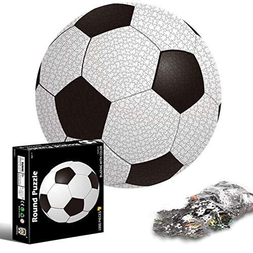 1000 Piezas Ronda fútbol Negro Blanco Rompecabezas Creativo dificultad educación educativa descompresión Juguete niños Adultos(fútbol Americano)