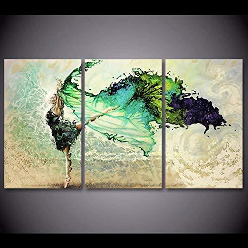 WANGZUO Cuadro sobre Lienzo Bailarina Verde, Niña, Mariposa, Bailando Impresion En Calidad Fotografica Enmarcado Y Listo para Colgar DiseñO Moderno DecoracióN Formato Multipanel 3 Piezas-40x60cmx3
