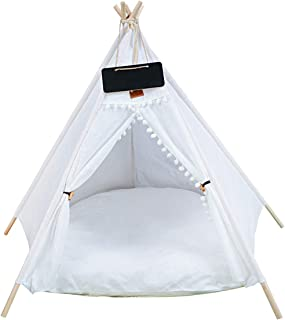 PENCK Pet Teepee with Thick Cushion Dog & Cat Teepee Bed - Portable Puppy Tents & Pet Houses with Blackboard, 31.5 Inch Ta...