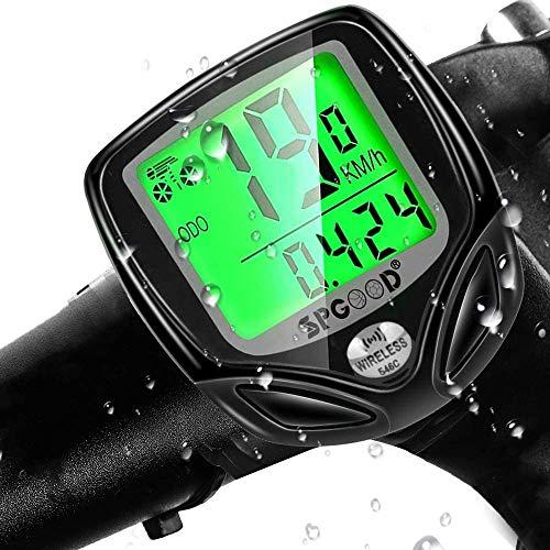 SPGOOD Fahrradcomputer Kabellos IP54 wasserdichte 16 Funktionen fahrradcomputer Wireless Bike Wireless Computer LCD Geschwindigkeit Fahrradtacho drahtlos Radcomputer Tacho Schwarz