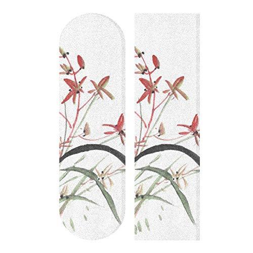N\A 33.1x9.1inch Sport Outdoor Lustiges Skateboard Grip Tape Chinesische Kultur Traditionelle Tuschemalerei Blumen Drucken Wasserdichtes Skateboard Grip Tape für Tanzbrett Double Rocker Board De