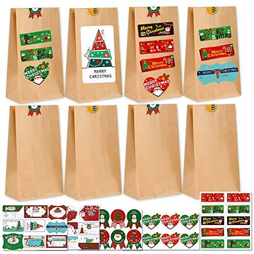 Gudotra 100 pcs Bolsas de Papel Kraft Amarillo + 108 pcs Pegatinas Redondas de Navidad para Regalo de Cumpleaños Navidad Boda