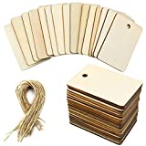 YapitHome 50 Piezas Etiqueta de madera Etiquetas Rectangulares de Madera Etiquetas de Madera con Cuerda, para DIY Artesanía Boda Decoración