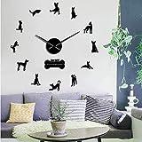BBNNN Ibizan Hound Reloj de Pared Grande España Raza de Perro Podenco Ibicenco Perro Mascotas Reloj de Pared Moderno Decoración para el hogar DIY Wall Art Wall Stickers 37Inch