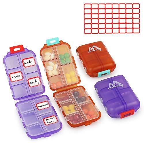 2er Pack Pillenetui Tragbarer kleiner 7-Tage-Pillen-Organizer-Pillenbox-Spender für Geldbörsenfächer Container Medicine Box von Muchengbao (Orange + Lila)