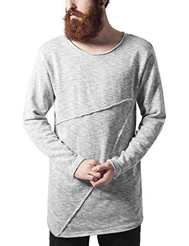 Urban Classics Fashion Long Terry Crew Sweat-Shirt, Gris mélangé (735), M Homme