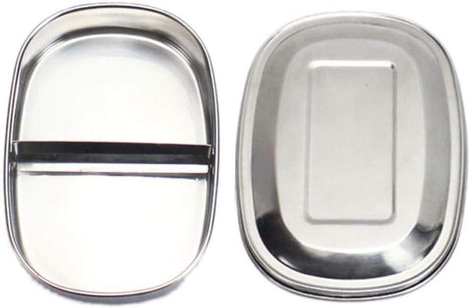 Fiambrera, fiambrera para niños con compartimentos, a prueba de fugas, juego con divisor y caja de metal, Bento Box grande, sin BPA (doble rejilla)
