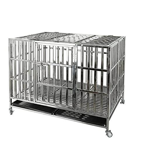 """Confote 42"""" Heavy Duty Stainless Steel Dog Cage Kennel Crate and Playpen for Training Large Dog Indoor Outdoor with Double Doors & Locks Design Included Lockable Wheels Removable Tray No Screw"""