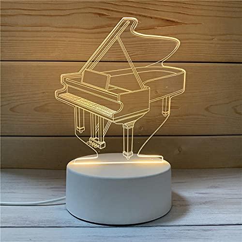 Luz Nocturna ,Lámpara De Ilusión Óptica Led 3D Con Placas Acrílicas De Patrones,Lámpara De Visualización Creativa Usb Regalo Para Niños,Piano