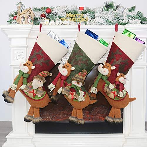 Charlemain 3 Stück Nikolausstiefel zum Befüllen und und Aufhängen(46*25cm), Nikolaussocken groß, Weihnachsstrumpf, Nikolausstrumpf mit weihnachtlicher Stickerei, Hängende Strümpfe für Weihnachtsdeko