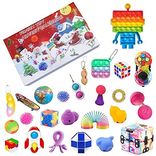 Qsurluck 2021 Christmas Countdown Adventskalender Figetsss Spielzeug-Sets,Fidget Spielzeug Set,für Zuhause, Schule, Büro, Party, Eltern-Kind-Spiel (Pack D)