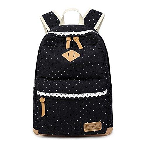 Mädchen Schulrucksack, Le-Dafei Fashion Damen Canvas Rucksack Polka Punkt süße Spitze Kinderrucksack Outdoor Freizeit Daypacks Schultaschen für Teenager 42x31x14cm/16.5x13x5.5 Zoll (schwarz)
