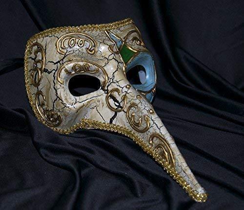 The Rubber Plantation TM 619219290296 - Disfraz de máscara veneciana para hombre (talla única), color marfil y dorado