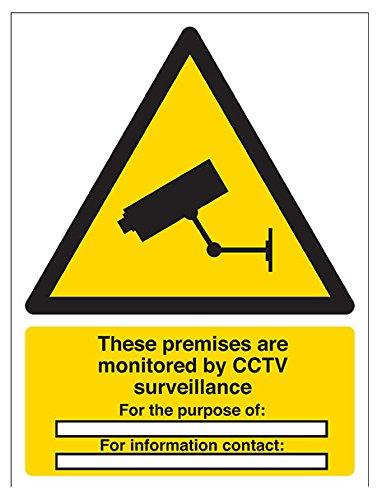 vsafety 6e034an-r'locales están bajo vigilancia CCTV/para el propósito de' ADVERTENCIA Señal de seguridad, plástico rígido, vertical, 150mm x 200mm), color negro/amarillo