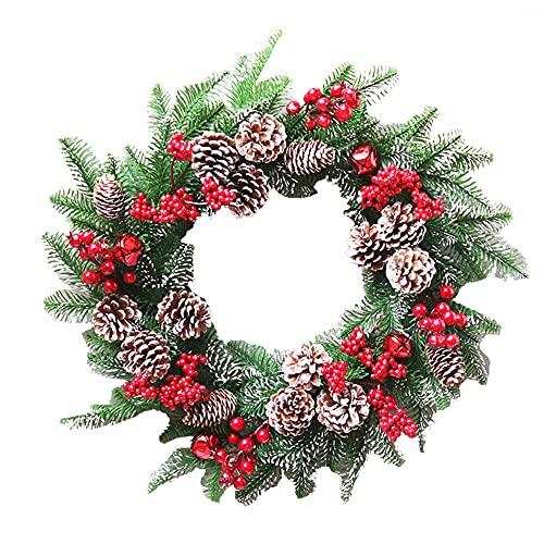borfieon Corona de Navidad Artificial 40/50cm Piñas con Decoraciones Mixtas Puerta de Entrada Decoración para Colgar en la Pared para la Celebración del Festival Hogar,40cm