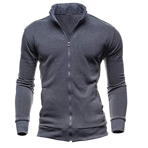 weimilon Men's Autumn Winter Sweatshirt Men Hooded Sport Stylish Leisure Cardigan Unique Zipper Sweatshirts Tops Jacket Coat (Color : Dunkelgrau, One Size : M)