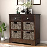 Storage Chest with 2 Drawers and 4 Baskets, Wood Storage Cabinet/Entryway Cabinet/Side Table for Living Room, Dining Room(Espresso)